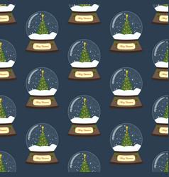 christmas snow globe with christmas tree seamless vector image