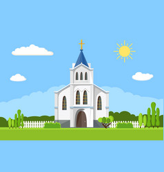 church icon flat summer landscape vector image