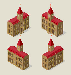 City hall building in isometric view on all four vector
