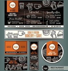 Coffee Bakery shop cafe set menu template vector