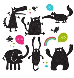 Collection of cartoon animals silhouettes vector image