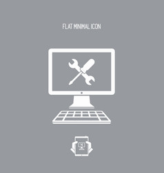 Computer technical support - icon vector