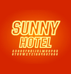creative sign sunny hotel with yellow neon vector image