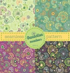 Dandelion meadows pattern set vector image vector image