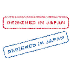 Designed in japan textile stamps vector