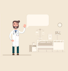 Doctor in house gives advice and vector