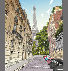 eiffel tower sketch paris france vector image