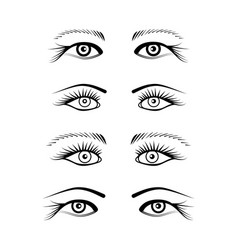 Eyes with eyelash extension set vector