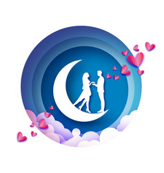 Fall in love crescent moon white romantic lovers vector