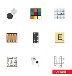 Flat icon play set of ace labyrinth chequer and vector