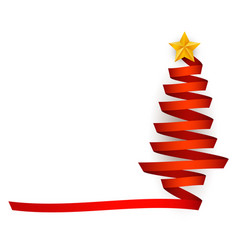 flat red ribbon christmas tree with star vector image