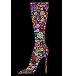 flower boot on black background vector image