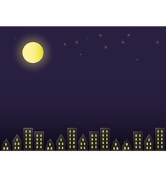 full moon night sky above the city paper cut style vector image