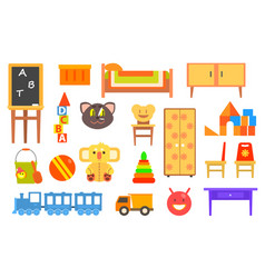 furniture and toys for children rooms vector image