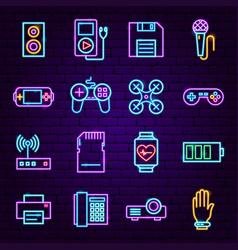 gadget neon icons vector image