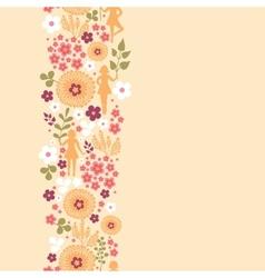 Girls among flowers vertical seamless pattern vector