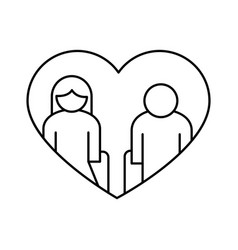Grandparents couple in heart avatars line style vector