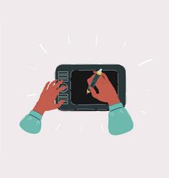 graphic designer hands workplace desk tablet vector image