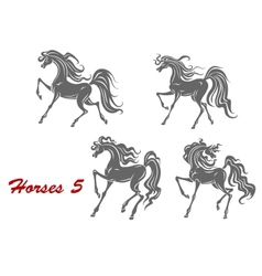 Gray horses in different expressions vector