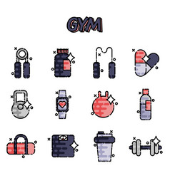Gym flat concept icons vector