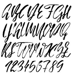 hand drawn font modern dry brush lettering vector image