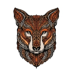 Hand drawn fox Ethnic patterns vector image