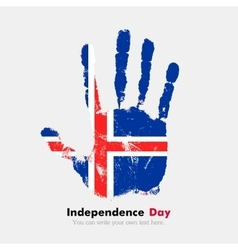 Handprint with the Flag of Iceland in grunge style vector image