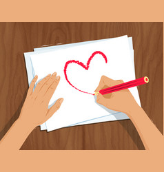 hands drawing heart shape vector image