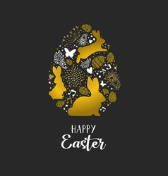 Happy easter gold glitter card of rabbits and eggs vector