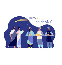 happy epiphany three wise men winter holiday vector image