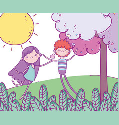 happy valentines day cute boy and cupid field vector image