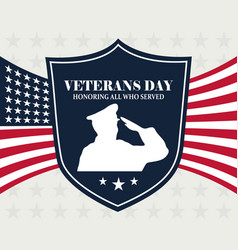 happy veterans day soldier shield over american vector image