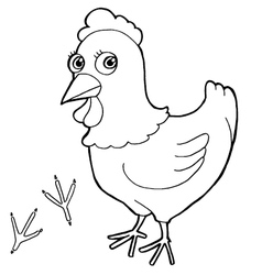 hen with paw print Coloring Pages vector image