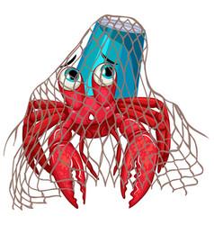 Hermit crab in net on white background vector