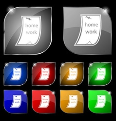 Homework icon sign Set of ten colorful buttons vector