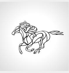 horseman rider in big sombrero silhouette vector image