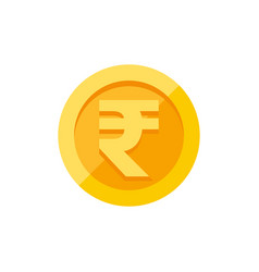 Indian rupees symbol on gold coin flat style vector