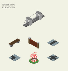 Isometric architecture set of carousel highway vector