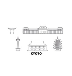 Japan kyoto line travel skyline set japan kyoto vector