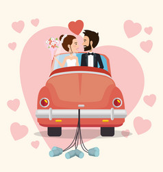 Just married couple with car avatars characters vector