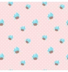 Kawaii cupcakes seamless pattern pink and vector