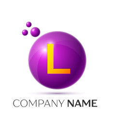 L letter splash purple dots and circle bubble vector