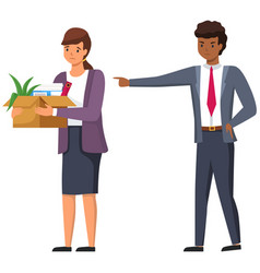 Layoff concept angry man boss dismissed employee vector