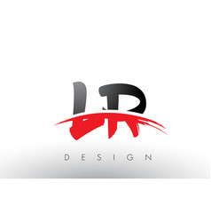 lr l r brush logo letters with red and black vector image