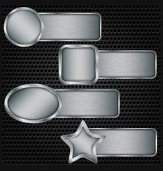 metal banner set metallic texture plate set vector image