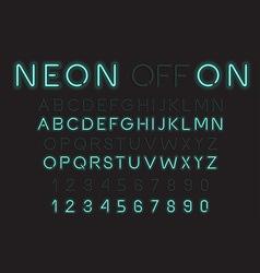 Neon light alphabet font vector