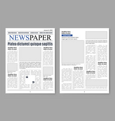 newspaper pages paper sheets media template vector image