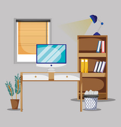 Office with desk and accessories flat to work vector