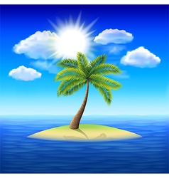 Palm tree on uninhabited island background vector