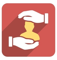 Patient Insurance Hands Flat Rounded Square Icon vector